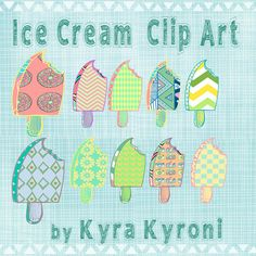 Ice cream patterned  Clip Art  -INSTANT DOWNLOAD -FOR cards, scrapbooking, digital art, printng, birthdays, party decoration