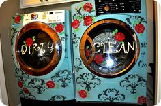 After seeing this I realize I can just get a white washer and dryer and paint it. great idea! yeah .... finished painting my white washer and black dryer.