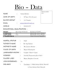 Marriage Bio Data Format Biodata Format For Job  Biodata Format For Teacher Job