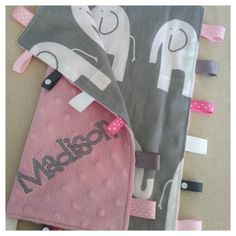 Personalized Boutique Taggie Blanket... Ella elephants...You choose colors on Etsy, $19.00