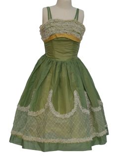 50s -Missing Label- Womens sage green, white and dusty yellow mid length nylon blend formal mid length, tank cut new look cocktail dress with ruffled bust, banded yellow under bust accenting, princess seaming and empire waistline that drops to full skirt. Replaced back zip closure and full chandelier lace paneled skirt with floral applique.
