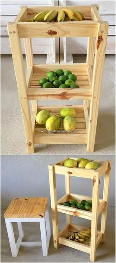 Surprising DIY Ideas with Old Wood Pallets Bring this great pallet vegetable and fruit rack design i Wooden Pallet Projects, Diy Furniture Projects, Woodworking Projects Diy, Pallet Furniture, Furniture Design, Outdoor Furniture, Pallet Stool, Playhouse Furniture, Pallet Playhouse