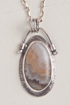 Beige Tones Crazy Lace Agate Pendant, Sterling Silver Chain, Box Chain, OOAK