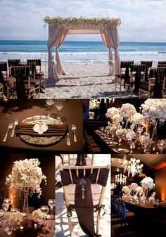 Elegant Beach wedding with brown and white