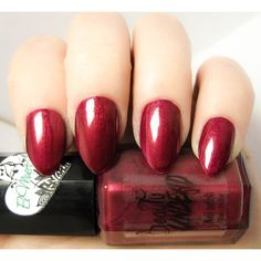 El Muerto Deep Red Shimmery Nail Polish ($10) ❤ liked on Polyvore featuring beauty products, nail care and nail polish