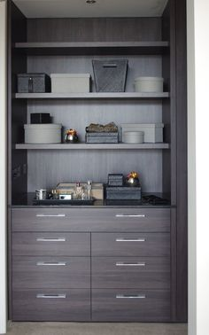 Built In Furniture, Dream Furniture, Roller Doors, Decorative Panels, Panel Doors, Beautiful Homes, Bookcase, It Is Finished, Shelves