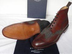 Charles Tyrwhitt Mid Brown Leather & Harris Tweed Brogue Boots...amazing!