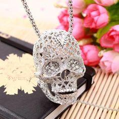 Hollow Crystal Skull Long Necklace //Price: $8.99 & FREE Shipping //     #skull #skullinspiration #skullobsession #skulls