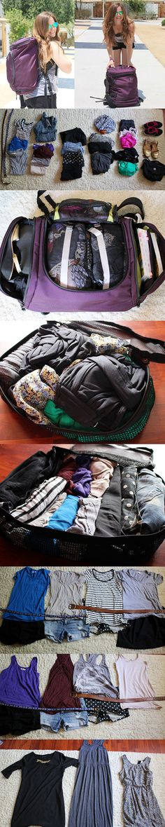 How she packed for a month in Europe using a carry on... I shall use this one day Packing For Europe, Packing Tips For Travel, Travel Essentials, Traveling Tips, Travelling, Travel Hacks, How To Backpack Europe, Travel Backpack Carry On, Mission Trip Packing