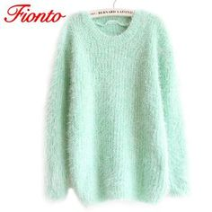 FIONTO Fashion  Women Autumn Winter Women's Round Neck Sweater  2017 Hot Women Hedging Loose Pullover Casual Sweater Cheap A163