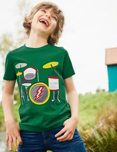 5, 6, 7, 8... Get the band together with this playful, music-themed T-shirt. Crafted from soft, stretchy jersey with a rock 'n' roll design in bold appliqué, it's perfect for bopping around to your favourite tunes. Slip it on with your favourite jeans and get the party started.