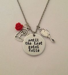 "Disney inspired Beauty and the Beast necklace ""until the last petal falls"" Belle hand stamped rose charms"
