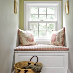 A cozy second-floor window seat makes a quiet retreat.