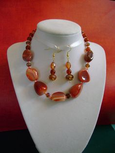 Reddish Gold Striped Agate Necklace and Two Pair by MyGrandmasHome