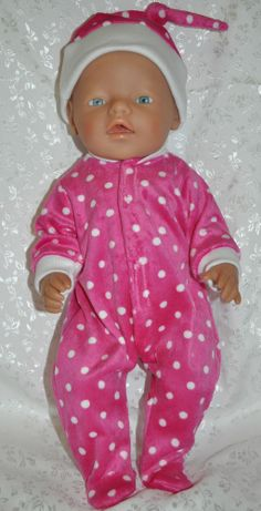 """Doll Clothes for 17"""" Baby Born Doll ~ Onesie Bodysuit with matching hat ~ Pink"""