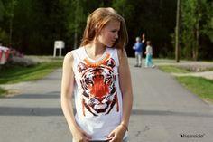 Tiger Print T-Shirt - Womens Fashion Clothing at Sheinside.com