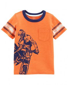 He'll feel cool front and back in this boys' Carter's tee, featuring a dirt bike rider graphic that wraps around the right side. In orange. Baby Boy Tops, Carters Baby Boys, Toddler Boy Outfits, Toddler Boys, Dirt Bike Shirts, Dirt Bikes, Carter Kids, Cute Toddlers, Summer Boy