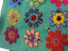 Sue Spargo Flower Sampler-not a great picture but you get a sense of her colors, no wait, click on it and it changes!