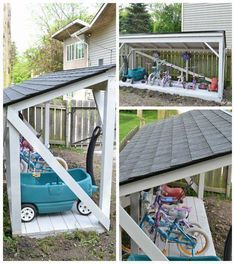 Backyard Bike Storage with an Easy to Install Roof It's easy to install a new roof on a backyard structure like a shed, playhouse, or lean-to.It's easy to install a new roof on a backyard structure like a shed, playhouse, or lean-to. Backyard Playground, Backyard For Kids, Backyard Projects, Outdoor Projects, Playground Toys, Backyard Toys, Backyard Playhouse, Backyard Sheds, Wood Projects