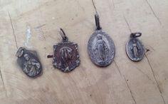 Vintage French  religious medal pendants Lot of 4 by karmolijntje