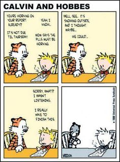 "I see this all the time, touted as the ""Last Calvin & Hobbes Comic Strip"". This is NOT drawn by Bill Watterson, he would never have done this to Calvin and Hobbes Calvin Und Hobbes, Calvin And Hobbes Comics, Bd Comics, Funny Comics, Comics Toons, Hobbes And Bacon, 4 Panel Life, Geek Art, Hobbs"