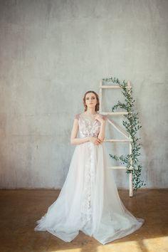 Glen / Pale rose wedding dress / Embroidered by Alexveilbridal