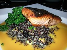 Skuna Bay Salmon with black quinoa and brocolini from The Ranch Restaurant in Anaheim