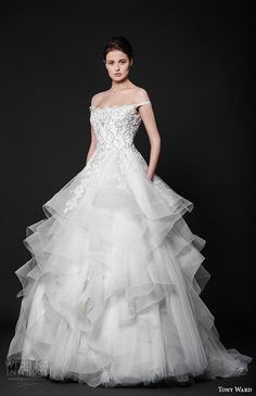 tony ward 2016 bridal off the shoulder beaded bodice horse hair trimmed layered wedding ball gown dress tendre nuage