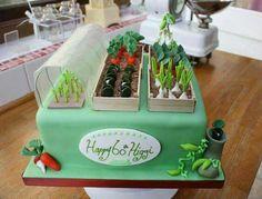 Allotment cake for birthday. Garden Theme Cake, Garden Birthday Cake, 90th Birthday Cakes, Special Birthday Cakes, Garden Cakes, Crazy Cakes, Fancy Cakes, Fondant Cakes, Cupcake Cakes