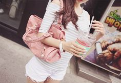 white shorts, sailor shirt , pink bag