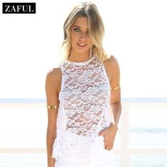 ZAFUL Europe And America Hot Sale Lace Tank Top Summer Beach Women's Round Neck Sleeveless Sexy See-through Backless Tops