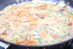 Zoete aardappeltortilla met zuurkool