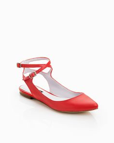 Red pointed toe criss cross ankle flat -- finally, a shoe that I would actually wear!