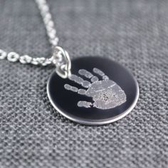 288c097e07714c Engraved Baby Handprint Necklace, Actual Baby Handprint Necklace, Personalized  Jewelry, Personalized Necklace,