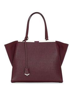 Trois-Jour Saffiano Shopping Tote Bag, Bordeaux by Fendi at Bergdorf Goodman.