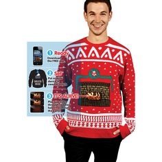 Virtual Fireplace Ugly #Christmas Sweater #funny #fugly #holidays