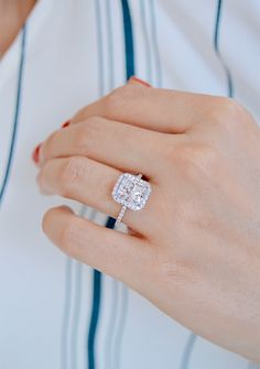 A Radiant cut diamond halo engagement ring with a thin band in white gold by Ascot Diamonds Radiant Engagement Rings, Dream Engagement Rings, Princess Cut Engagement Rings, Halo Diamond Engagement Ring, Engagement Ring Settings, Vintage Engagement Rings, Solitaire Rings, Diamond Rings, Solitaire Diamond