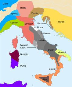Before the Roman Empire, ancient Italy comprised a group of cultures which absorbed each other's ideas through trade. This map dated from 700-400 BCE.