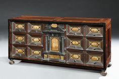 A 17th century, Italian, pietra paesina mounted, walnut, ebony and ebonised, table cabinet
