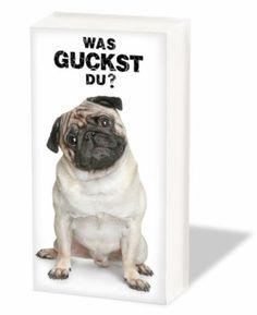 Papier-TaschentücherPapier-Taschentücher: Hunde - Mops - WAS GUCKST DU
