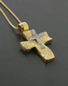 Σταυρός βάπτισης χρυσός & λευκόχρυσος Κ14 με Ζιργκόν Christian Symbols, Holy Cross, Wall Crosses, Cross Jewelry, Cross Paintings, Cross Pendant, Arrow Necklace, Jewlery, Gold Rings