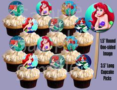Little Mermaid (Disney) Circle Image Cupcake Picks Cake Toppers - Barney Party, Barney Birthday, Pokemon Birthday, 2nd Birthday, Birthday Ideas, Little Mermaid Cupcakes, Mermaid Cakes, Cupcake Picks, Cupcake Toppers
