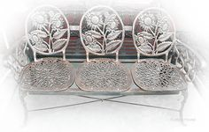 Rustica House  sunflowers rustic garden bench for three occupants is handmade of aluminum metal. It makes this outdoor balcony furniture very rigid and weather resistant. #myRustica