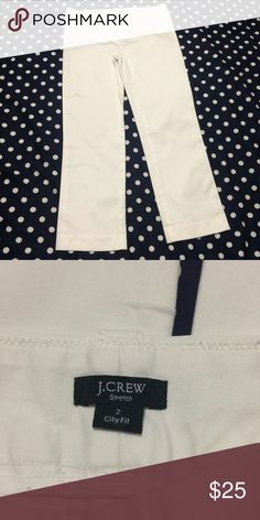 J Crew Pants White- like new condition- 97% cotton 3% spandex- inseam measures 25 inches- waist measures 15 inches across the front laying flat- can wear cuffed for a more cropped look- city fit J. Crew Pants
