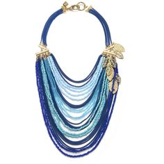 Sequin Blue Layered Beaded Necklace ($64) ❤ liked on Polyvore