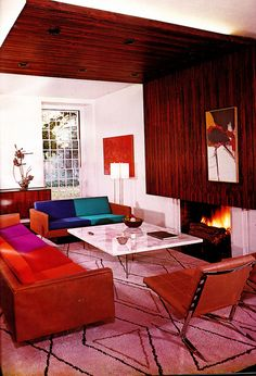 A by Jose Wilson and Arthur Leaman by retro-space, via designs room design home design decorating before and after house design Mid-century Interior, Home Interior Design, Modern Interior, Interior Decorating, Midcentury Modern, 1960s Interior, Orange Interior, Modern Retro, Scandinavian Interior