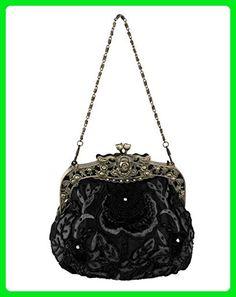 21088e11c62 Women's Vintage Elegant Beaded Evening Clutch Bag Prom Party Handbag Rose  Purse - Evening bags (*Amazon Partner-Link)
