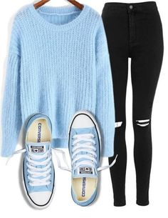 I love this #KPopStyle Look from #BTS #ShopStyle #ssCollective #MyShopStyle #ootd #summerstyle #mylook #ShopStyleFestival #lookoftheday #currentlywearing Black Skinny Jean Outfits, Outfits With Jeans, Blue Outfits, Black Pants, Casual Outfits, Baby Blue Converse, Blue Converse Outfit, Outfits With Converse, Converse Sneakers