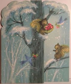 Squirrels Birds in The Woods Vintage Christmas Card