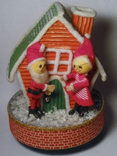 Vintage Christmas Santa & Mrs Claus Flocked by BrilbunnySelections, $65.00